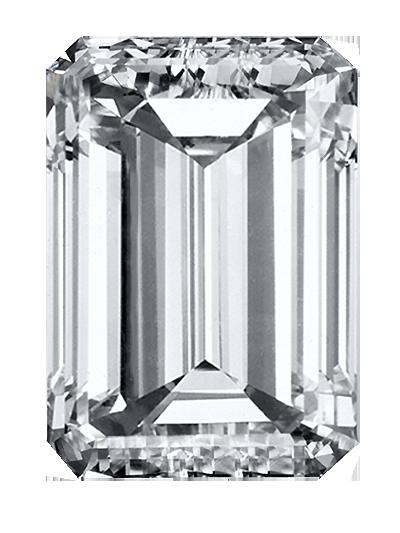 Ein gedenkdiamant aus weißer / farbloser farbe und smaragdschnitt aus kremationsasche oder haar