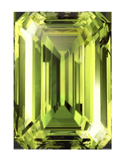 Ein LONITÉ-einäschungs-diamant aus der einäscherung asche oder haare in grünlich-gelber farbe & smaragd geschnitten.